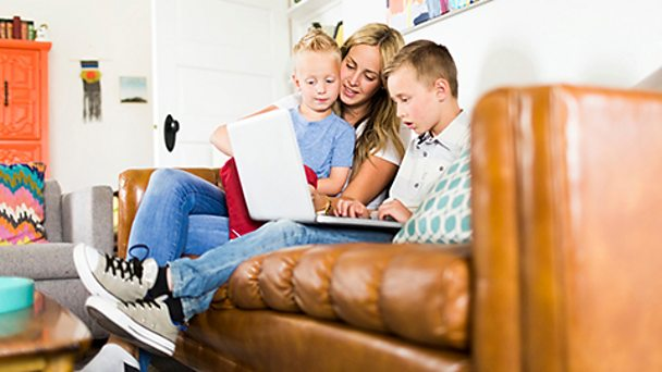 Parents talk to their child using a tablet