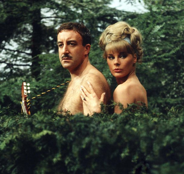 Reluctant naturists Peter Sellers and Elke Sommer in A Shot In The Dark.