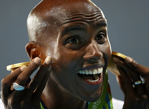 Mo Farah celebrates winning two golds at the 2016 Rio Olympics