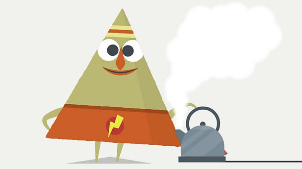Triangle character standing with a steam coming from a kettle