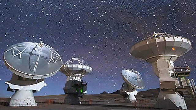 Radio telescopes in the Atacama Desert