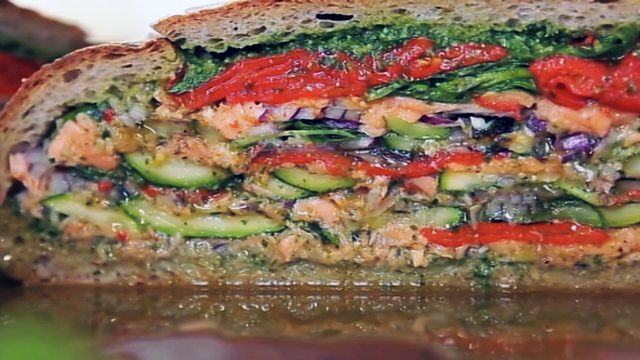 Salmon and watercress pan bagnat recipe bbc food forumfinder Gallery