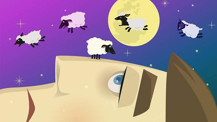 Illustration of someone trying to get to sleep by counting sheep