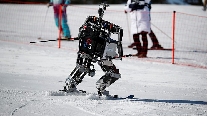 Skiing Robots Zoom Down Slopes Right Outside Winter Olympics