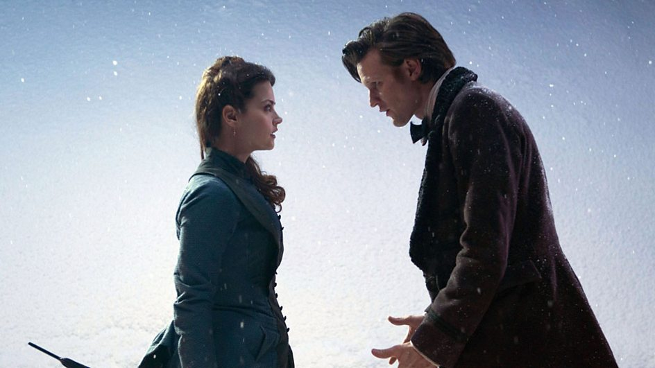 The Doctor and his new companion, Clara, come face-to-face.