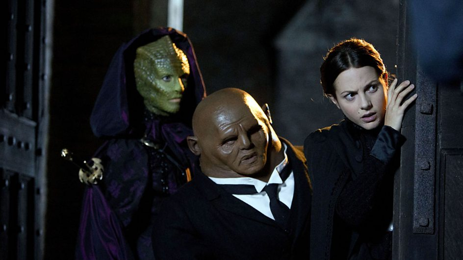 From left to right, Vastra, Strax and Jenny.