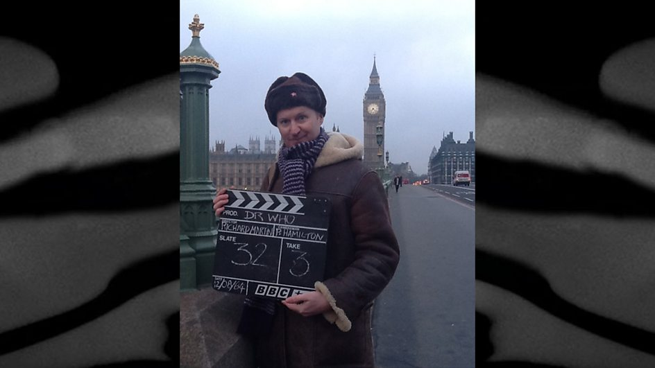 The writer and executive producer of An Adventure in Space and Time, Mark Gatiss, on location in London.