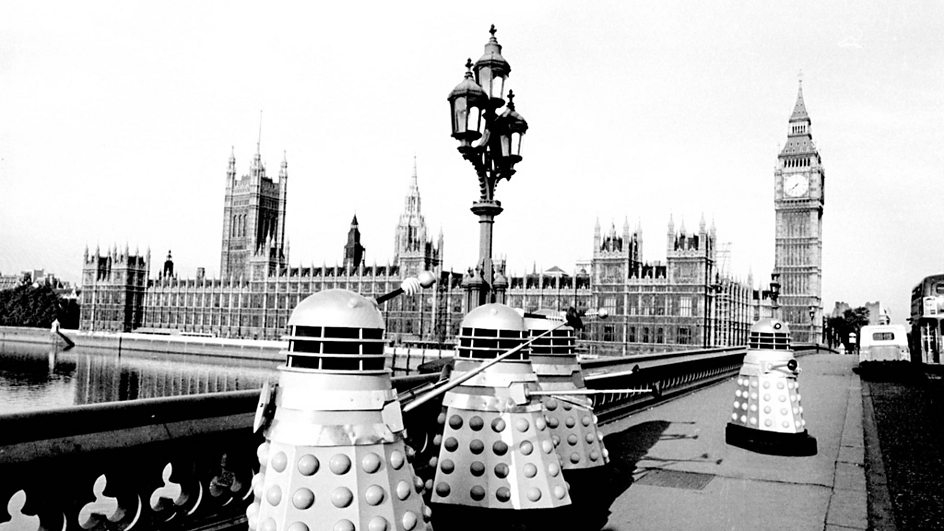 A shot from the original story – The Dalek Invasion of Earth, The Daleks' original invasion – back in 1964.