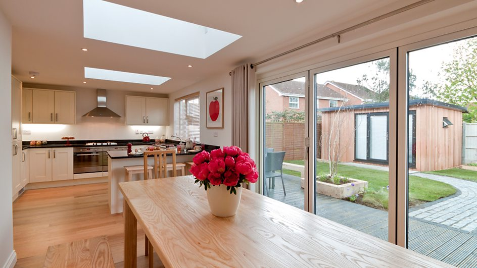 Bbc one diy sos the big build huntingdon before and for Garden room kitchen