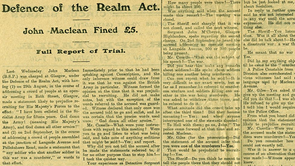 newspaper article about John Maclean's fine