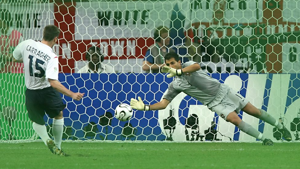 Jamie Carragher takes England's eighth penalty against Portugal in 2006