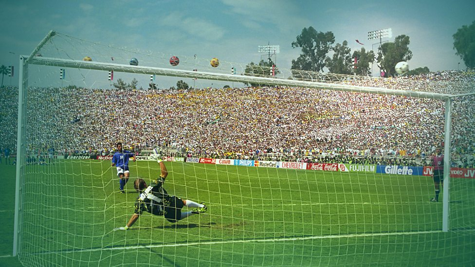 Italy's Roberto Baggio sends his penalty high against Brazil in the 1994 World Cup final