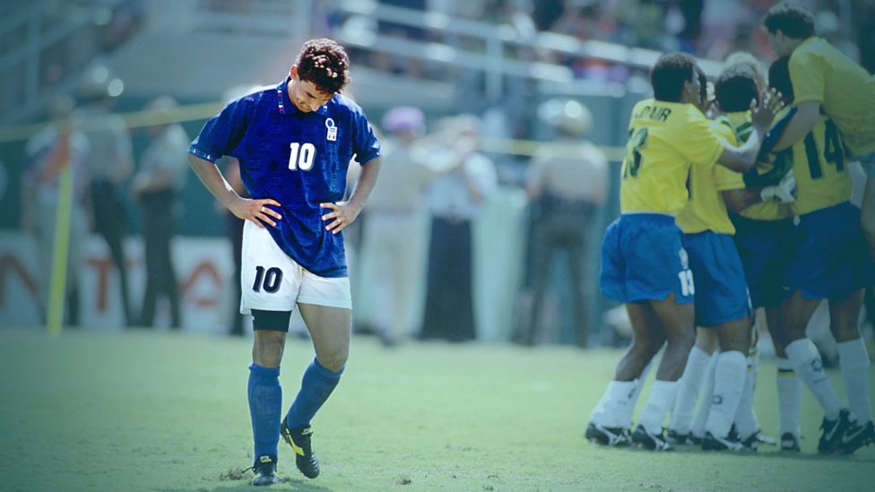 Robert Baggio is distraught after missing his penalty for Italy in 1994