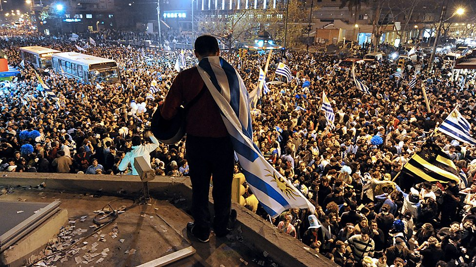 Fans in Montevideo celebrate Uruguay's shootout win over Ghana in 2010