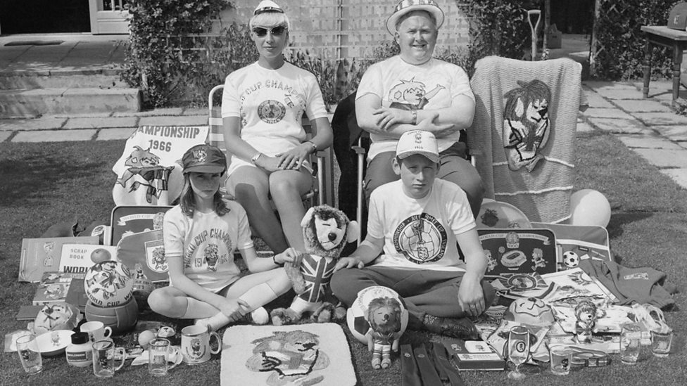 A family surrounded by practically every commodity made available for the 1966 World Cup.