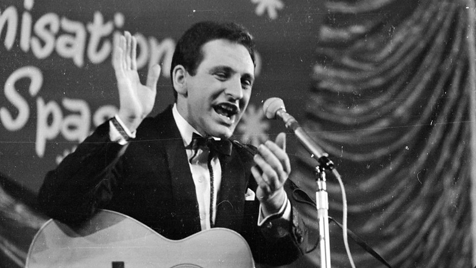 The 'King of Skiffle' performs at the Daily Express Record Star show in 1962.