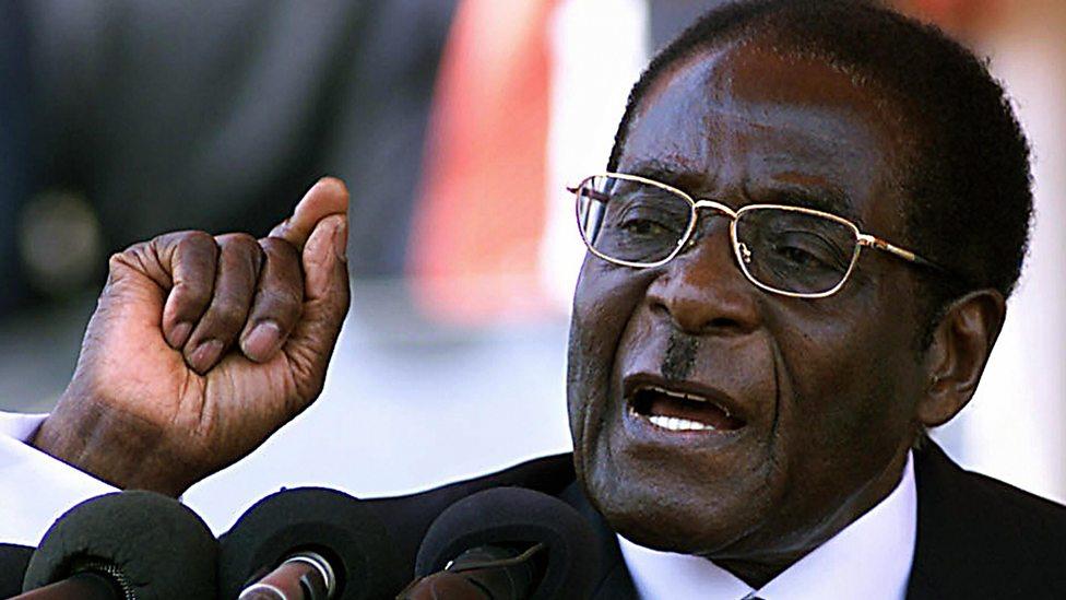 President of Zimbabwe, Robert Mugabe gives a speech