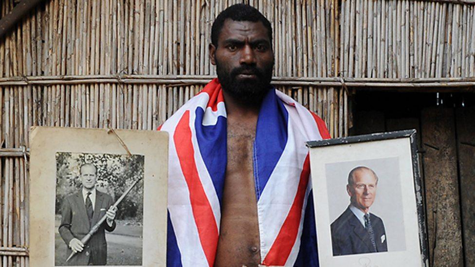 A local man shows devotion to Prince Philip in Tanna, Vanuatu in August 2010