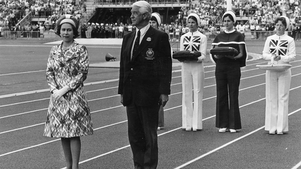 The Queen preparing to present medals at the 1974 Commonwealth Games