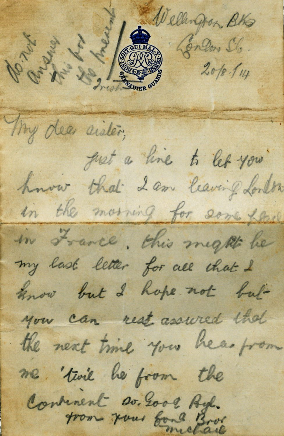 Michael Egan first page letter