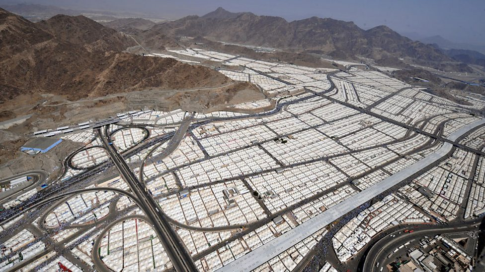 Aerial shot of tens of thousands of tents hosting pilgrims in Mina, near Mecca.