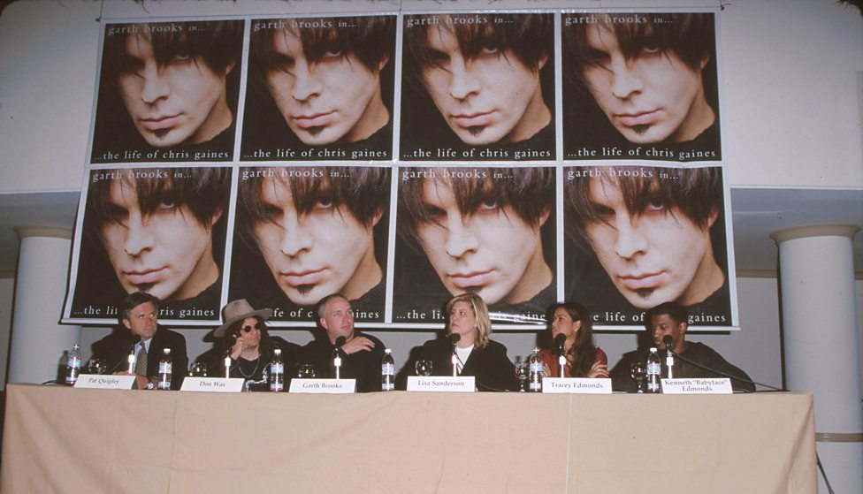 Garth Brookes (centre left) at the press launch of his Chris Gaines album