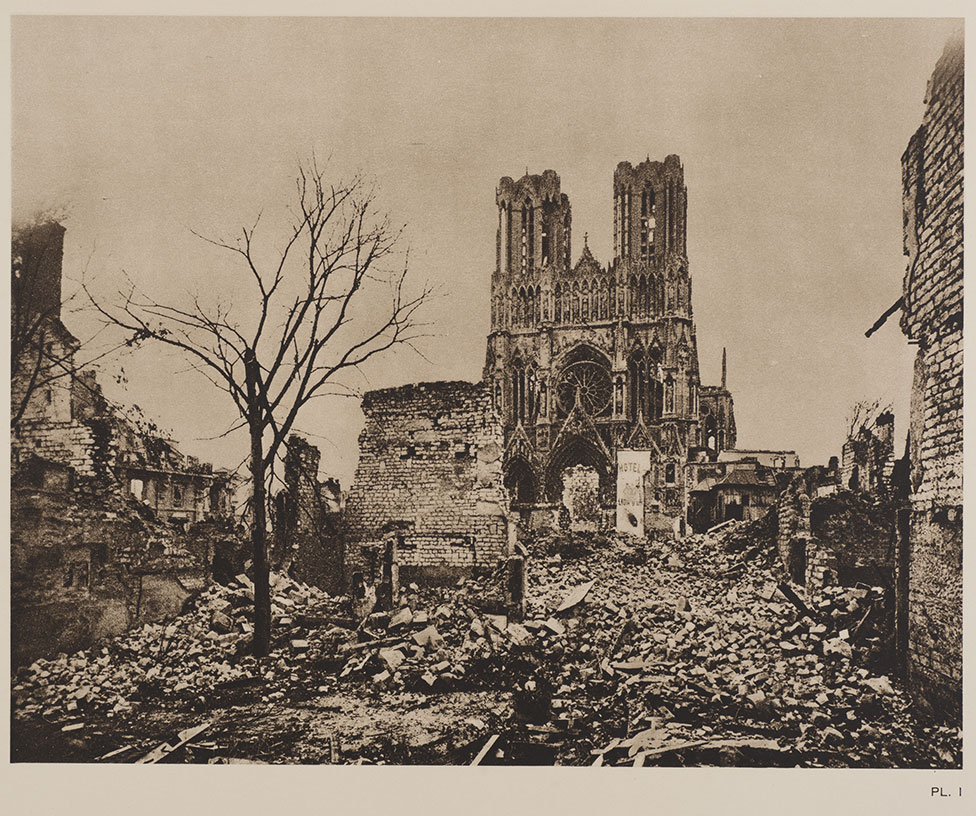 A postcard of the devastated city of Reims