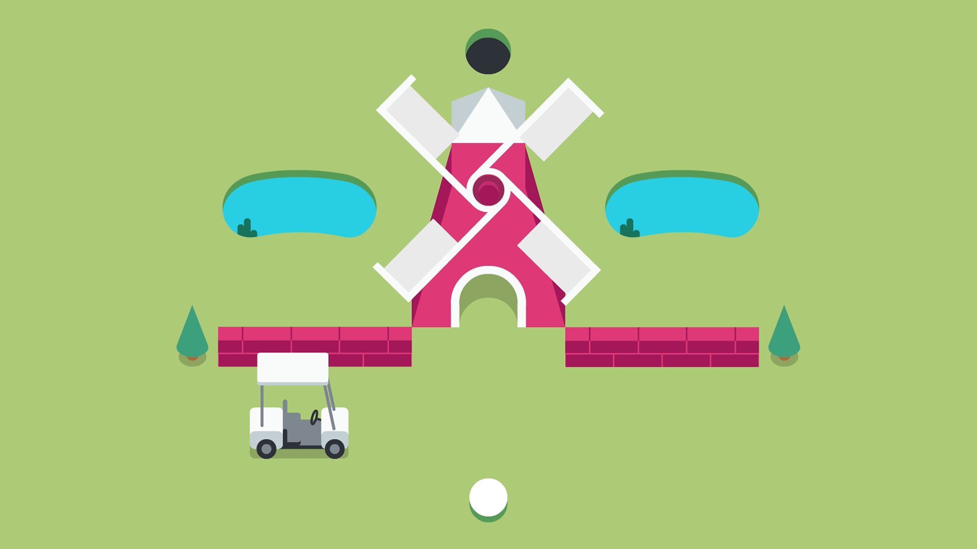 An illustration of a crazy golf game using a windmill