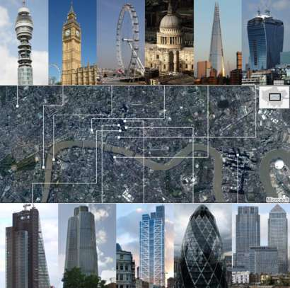 A clickable graphic showing the values and locations of London's most iconic buildings