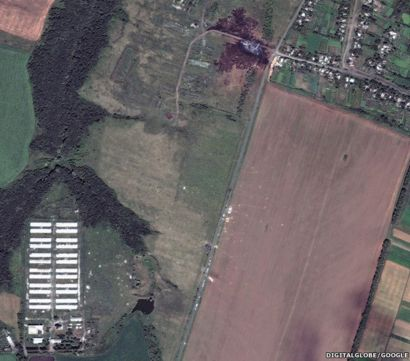 Satellite image of MH17 debris