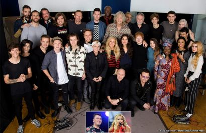 A clickable group shot of the artists involved in Band Aid 30