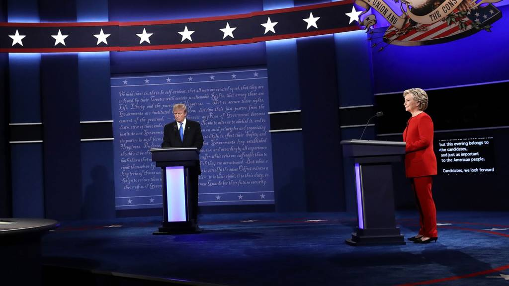 Trump and Clinton on stage