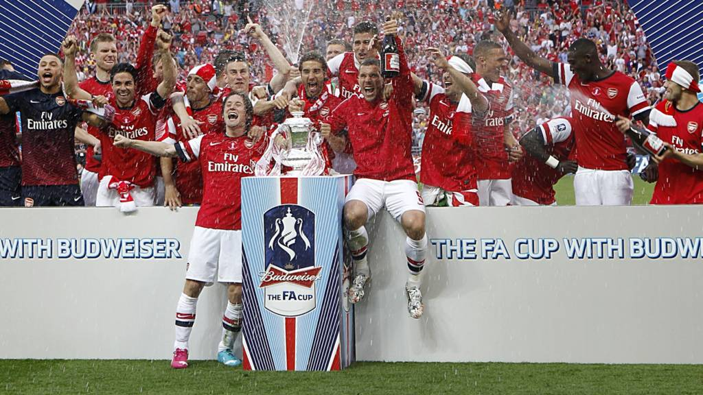 Arsenal celebrate winning the FA Cup on the pitch at Wembley