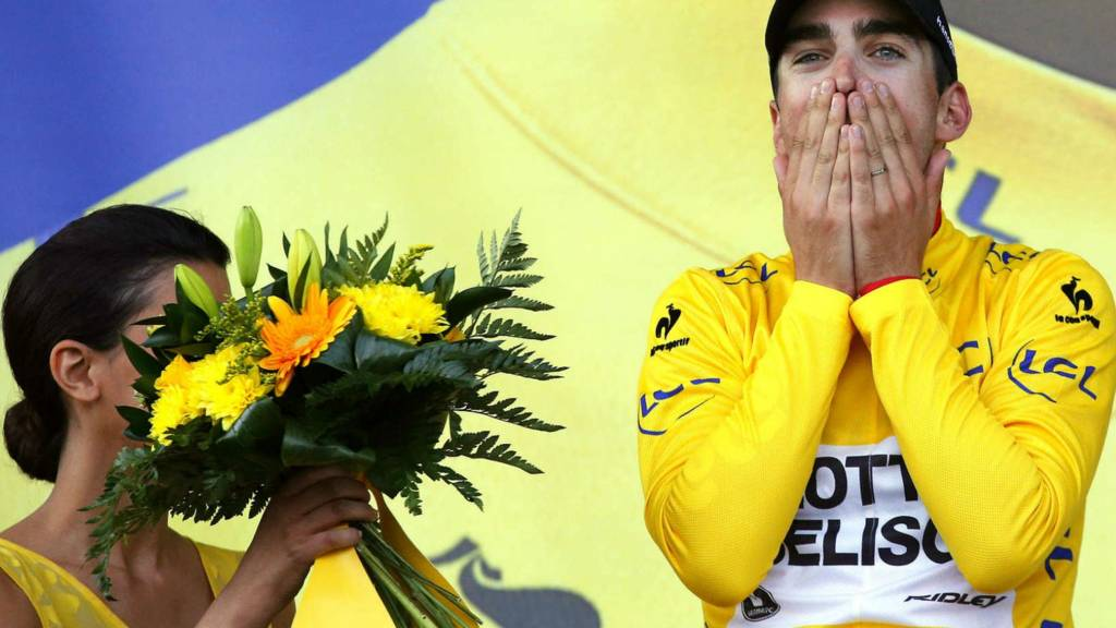 Tony Gallopin takes the yellow jersey on stage nine of the Tour de France
