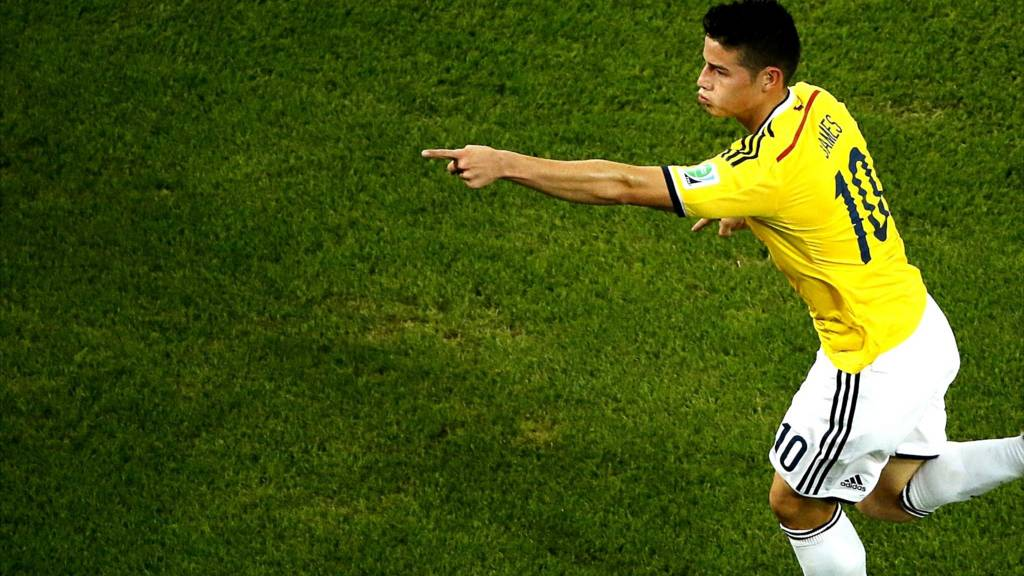 "Colombia""s James Rodriguez celebrates after scoring"
