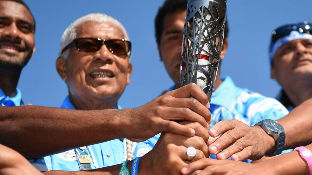 Team Fiji with the baton