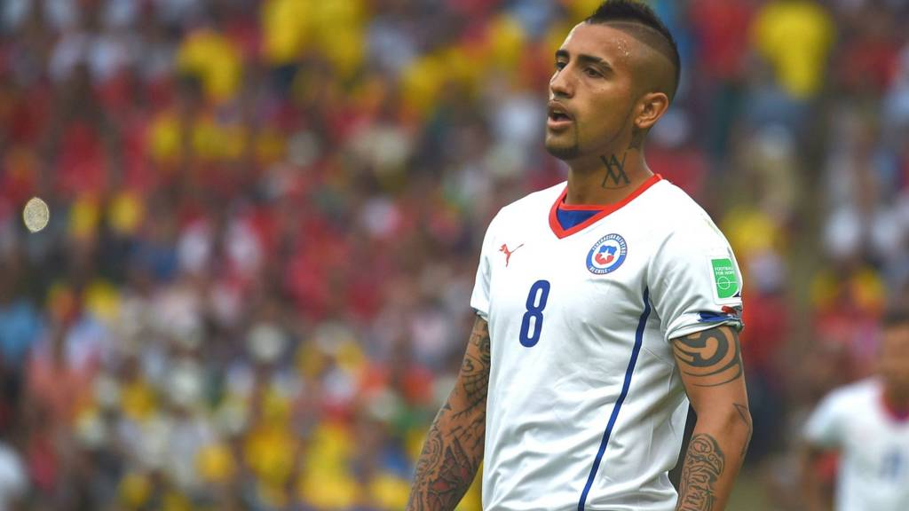 Chile and Juventus' Arturo Vidal in action during the 2014 World Cup