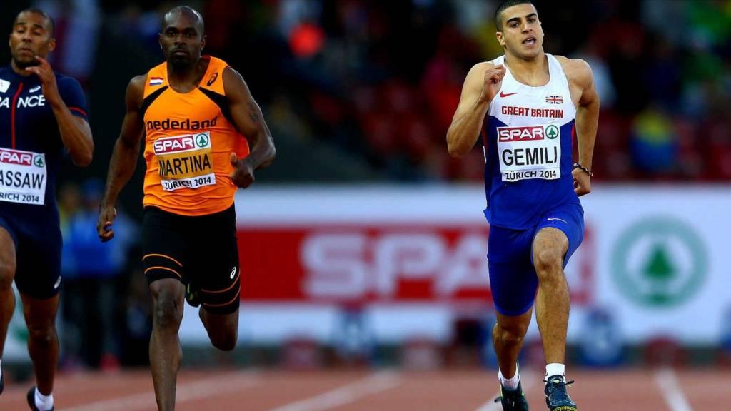 Adam Gemili in the men's 100m at Zurich