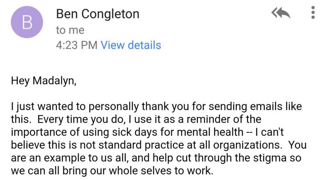 Madalyn's CEO's response