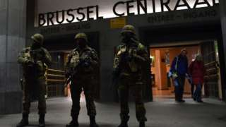 Soldiers outside Brussels central rail station