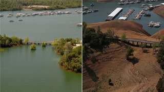 Lake Oroville, California, in 2014 drought (right) (Image: Reuters)