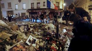 Candles near the site of last Friday's attack at Le Carillon cafe in Paris. 19, November 2015