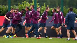 England team in a training session before facing Norway at Wembley