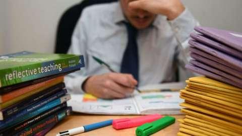 Teacher marking school work