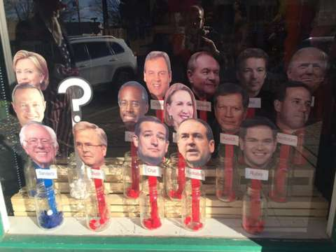 Straw poll at Des Moines costume shop has Trump ahead; Hillary and Bernie neck and neck; undecided tops