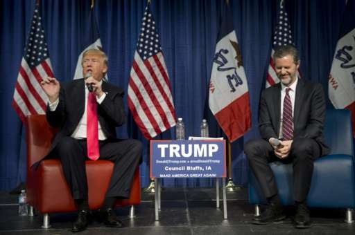 Donald Trump and Jerry Falwell in Iowa