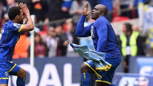 Adebayo Akinfenwa celebrates