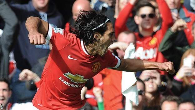 Radamel Falcao celebrates his goal against Everton