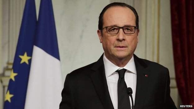 President Hollande addressing the national from the Elysee Palace