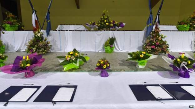 Books of condolences are ready to sign at a sports hall in Seyne-les-Alpes, south-east France